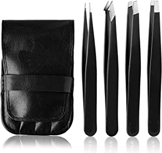 Tweezers Set - H HOME-MART Professional Stainless Steel Tweezers for Eyebrows - Great Precision for Facial Hair, Splinter ...