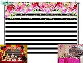 Qian Photography Backdrops Black and White Stripe Background Pink Rose Flower Birthday Party Wedding Photo Studio Booth 7X5FT 012