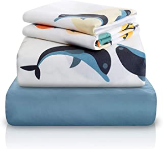 Chital 4 Pc Full Bed Sheets | Dolphin Themed Kids Bedding Set | Marine Animal Collection | Durable Super-Soft, Double-Brushed Microfiber | 1 Flat & 1 Fitted Sheet, 2 Pillow Cases | 15