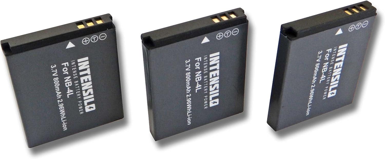 Intensilo 3x Li Ion Akku 800mah Für Kamera Camcorder Elektronik