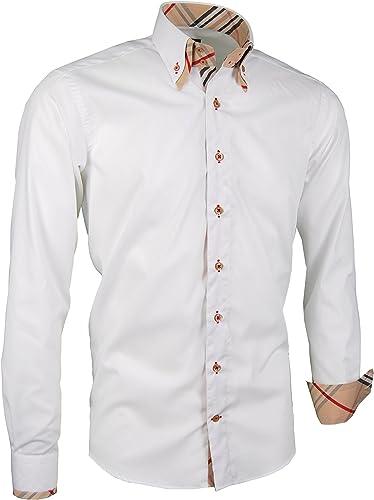 Giorgio Capone Premium Herrenhemd, 100% Baumwolle, Weiß, Doppelkragen mit Streifen-Look, Langarm, Slim Normal & Regular-Plus Fit