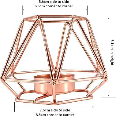 JTOOYS Bougeoir géométrique de style nordique en métal doré rose en fer forgé pour décoration de table, mariage, fête, chambr