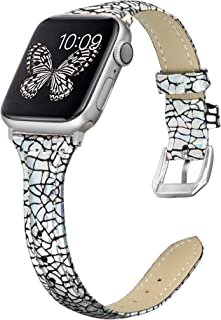 Secbolt Leather Bands Compatible Apple Watch Band 38mm 40mm Stainless Steel Buckle Replacement Slim Glitter Patent Leather Wristband Sport Strap Iwatch Series 5/4/3/2/1
