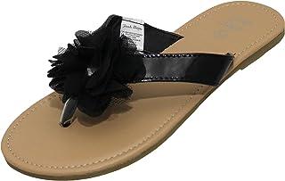 250132c3f2e38 Stepping Stones Girls Flip Flip Thong Sandals with Chiffon Ruffle Bow Black  White Sizes 11-