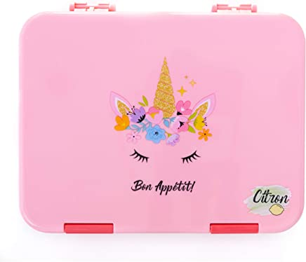 Citron Kids Leak Proof Bento Lunch Box, 6 Compartments, Pink with Unicorn