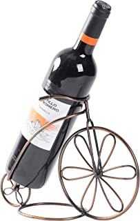 Vintiquewise QI003560 Vintage Decorative Metal Bicycle 1 Bottle Tabletop Countertop Wine Holder, Black