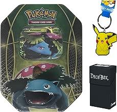 Pokemon Venusaur EX Tin with Venusaur EX Promo Card, 4 Pokemon Booster Packs Bundle with Pikachu Keychain and Ultra Pro Deck Box - 3 Items