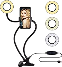 SHYLOC Selfie Ring Light and Cell Phone Holder Stand for Live Stream/Makeup, LED Camera 3 Light Modes 10-Level Brightness 360° Rotating for Tik Tok, Vigo, Youtube and Many More (6 Inch)