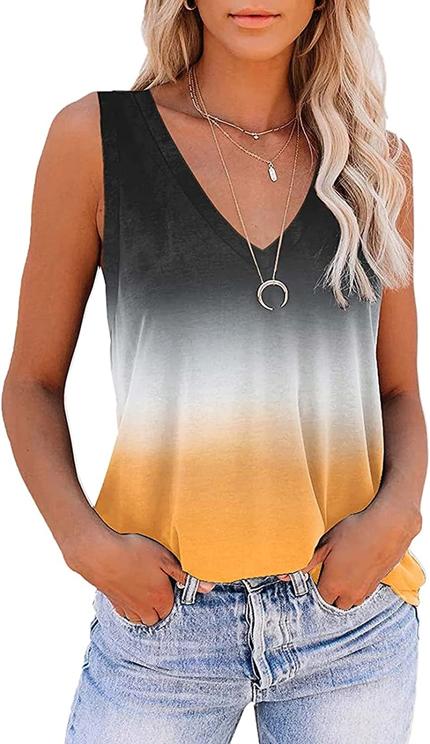 Summer Tops for Women Trendy,Women's American Flag Tank Camo Tee Loose Sleeveless Country USA T Shirts