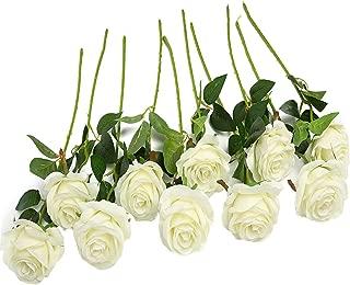 JUSTOYOU 10pcs Artificial Rose Silk Flower Blossom Bridal Bouquet for Home Wedding Decor(Off White)