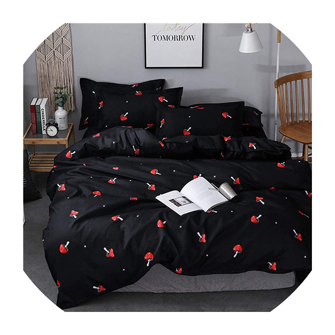 Jifnhtrs Pastoral Style Bedding Set Winter Grey Blue Bed linens 3 or 4pcs/Set Duvet Cover Set Panda Bed Set Kids Bedclothes Queen Bedding,Black red,Small Twin 3pcs,Flat Sheet