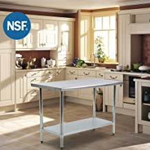 Kitchen Work Table Metal Stainless Steel Commercial Scratch Resistent And Antirust NSF Work Table With Adjustable Table Toot,24 X 60 Inches