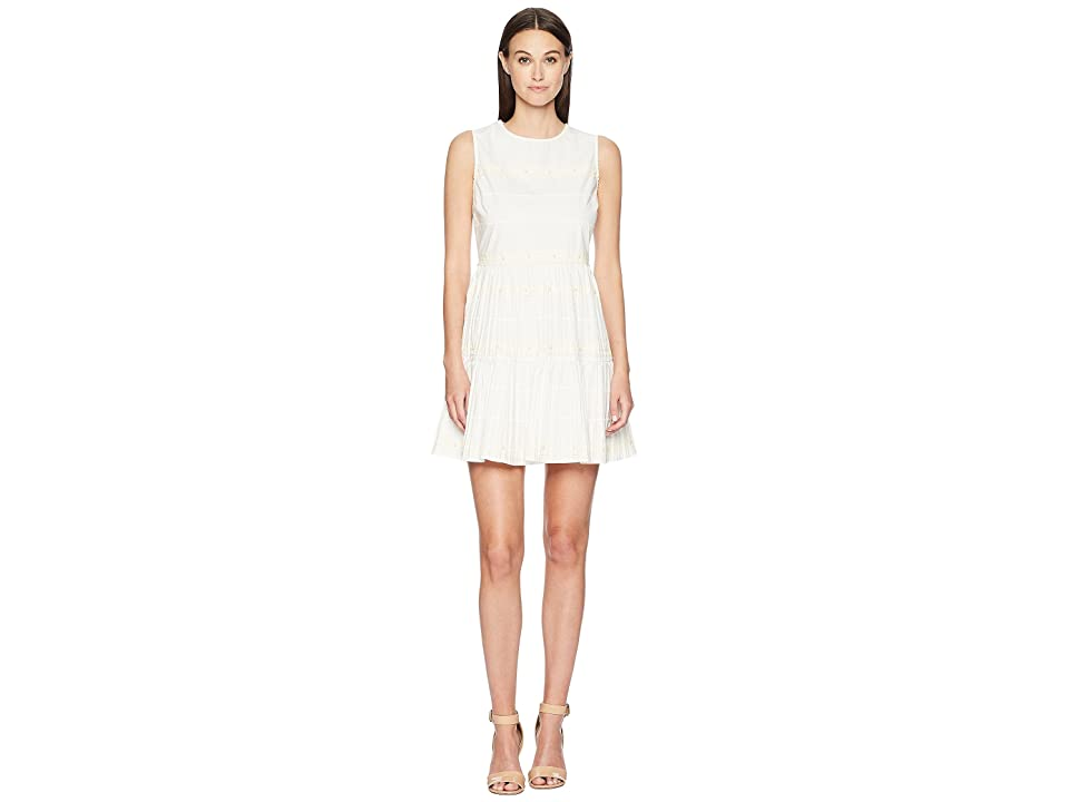 RED VALENTINO Cotton Poplin Dress with Zagana Ribbon and Boules (Latte) Women