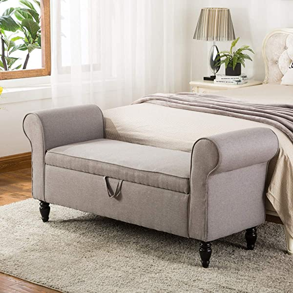 Upholstered Storage Ottomans Bench With Arms Bedroom Footstool Living Room Home Furniture Modern Fabric Bench Grey