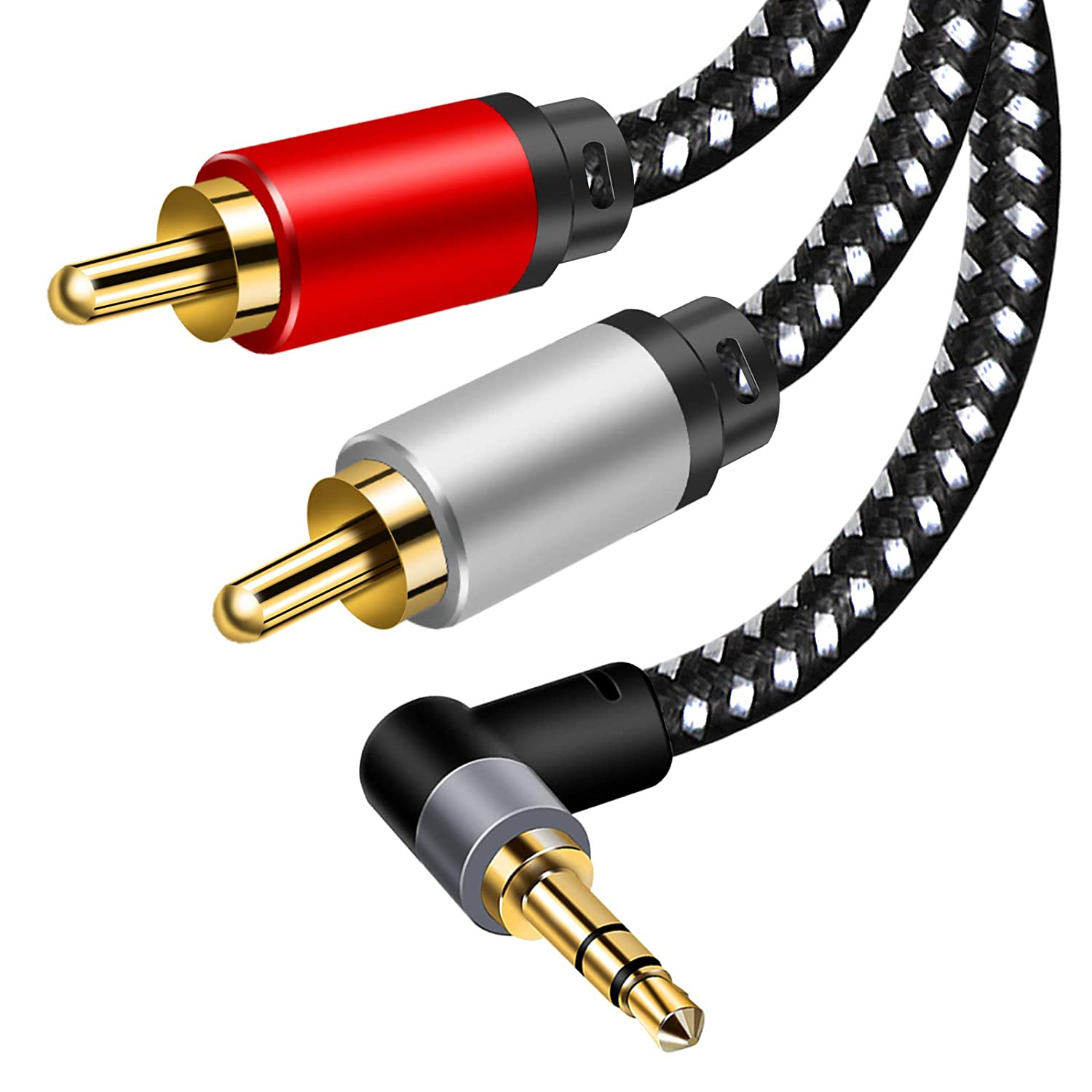 3.5mm Aux Cables, 90° RCA Audio Cable, 3.5mm to 2-Male RCA Stereo Splitter Cable 1/8