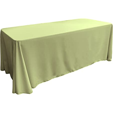 Amazon Com La Linen Polyester Poplin Rectangular Tablecloth 90 X 132 Sage Home Kitchen