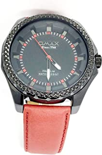 ساعة اوماكس للرجال - رياضية، ربع لتر، مينا اسود - سوار من الجلد - مقاومة للماء - Beeb1239