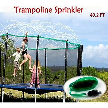 FreeNFond 49ft Trampoline Sprinkler Boys Girls Fun Summer Outdoor Water Game Trampoline Sprinkler Accessories Water Play Sprinklers for Kids