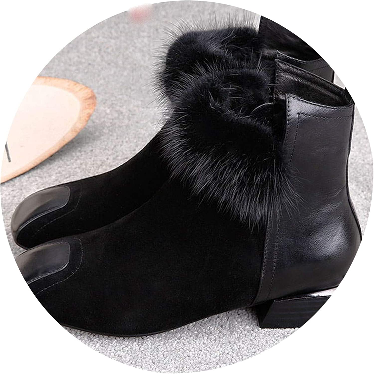 Designer Women Ankle Boots Faux Suede Fur Leather Boots Warm Plush Winter shoes Botas