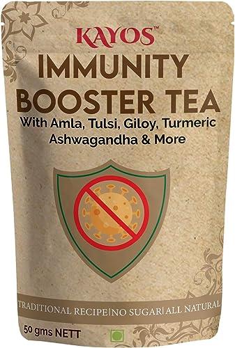 Kayos Immunity Booster Tea Traditional Herbal Tea with Amla Tulsi Giloy Turmeric Ashwagandha 50g