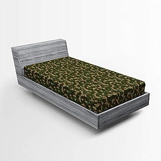 ABAKUHAUS Camouflage Drap-Housse, Marsh Camo Art Jungle, Pochette Élastique Tout Confort pour Literie en Tissu Décoratif, ...