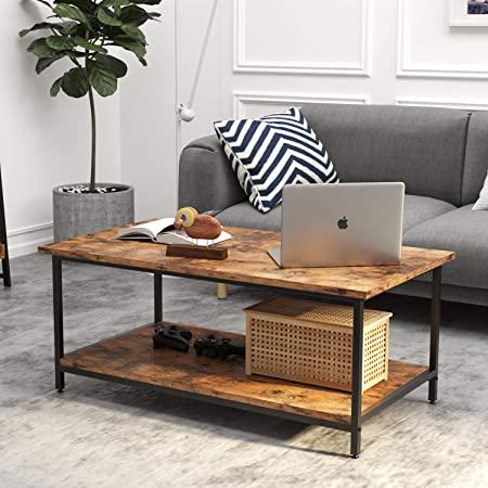 Industrial Coffee Table Bonzy Home Vintage Coffee Table With Storage Shelf Wood Look Accent Furniture With Metal Frame Cocktail Table Living Room Coffee Table Kitchen Dining