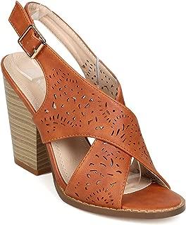 Women Leatherette Cross Band Laser Cut Slingback Chunky Heel Sandal EH32 - Tan