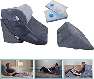 4 Pcs Orthopedic Bed Wedge Pillow Set – Post Surgery, Relaxing, Back & Adjustable Head Support Cushion – Triangle Memory F...