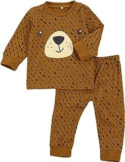 Geagodelia - Conjunto completo para niños de 2 a 7 años, sudadera de manga larga + pantalón con estampado de oso de dibujo...