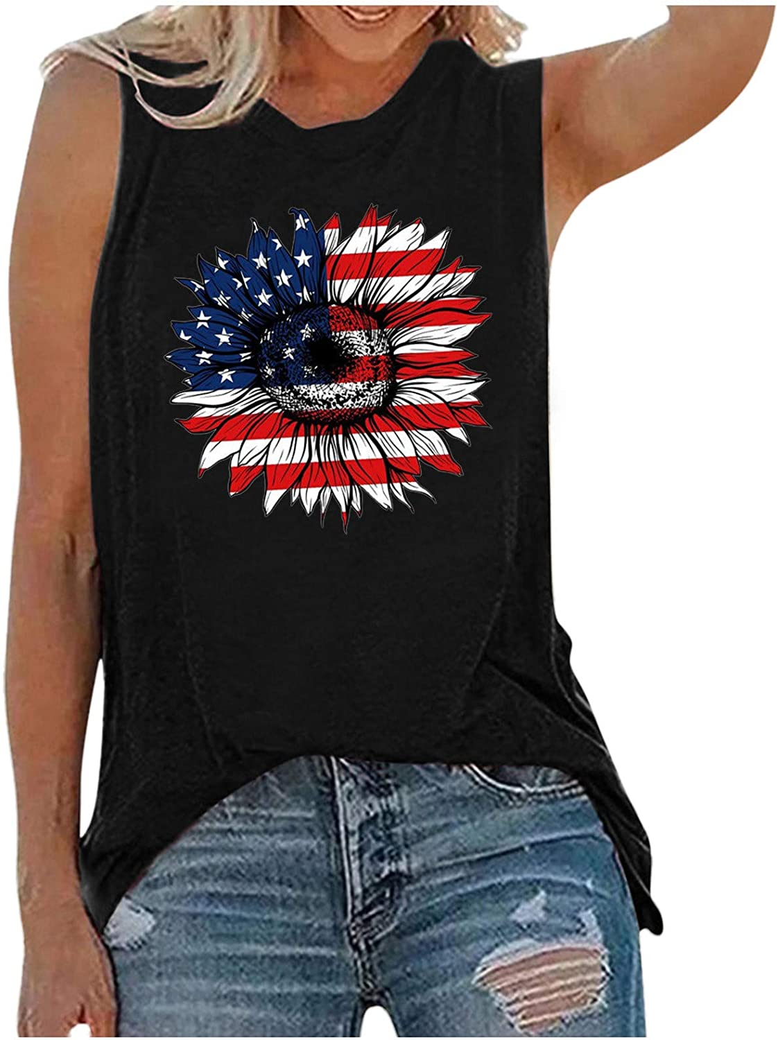 Tank Tops for Women, Fouth of July Sleeveless O-Neck Tunic Blouse Tops Tees Sunflower Printed T Shirts Blouses