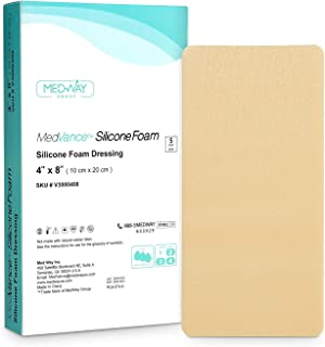 MedVancTM Silicona: apósito absorbente de espuma adhesiva de silicona, 10 cm x 20 cm, caja de 5 apósitos