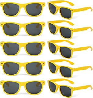 10 Packs Wholesale Adults and Kids Neon Colors 80's Retro Style Square Party Favors Sunglasses