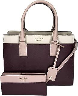 Kate Spade New York Cameron Medium Satchel WKRU5851Z bundled with matching Slim Bifold Wallet (Cherry Wood/Warm Vellum)