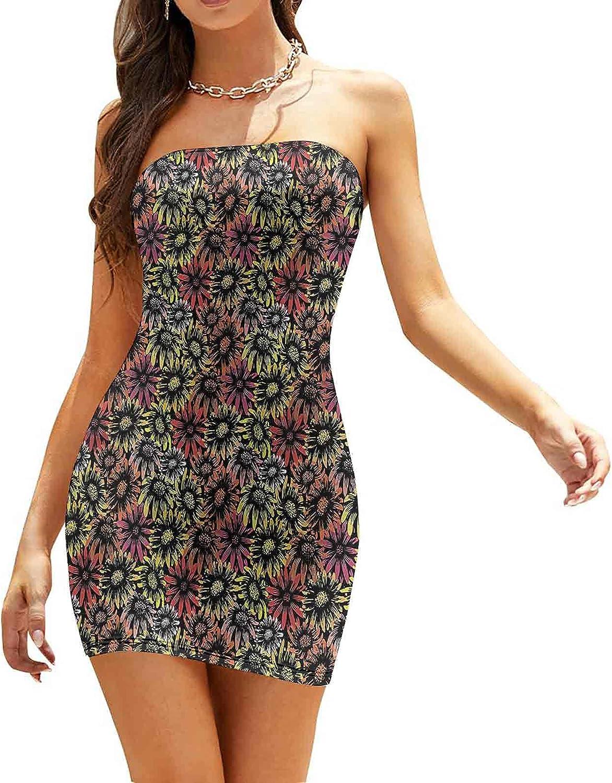Women's Summer Strapless Dresses Vintage Bouquet Dresses