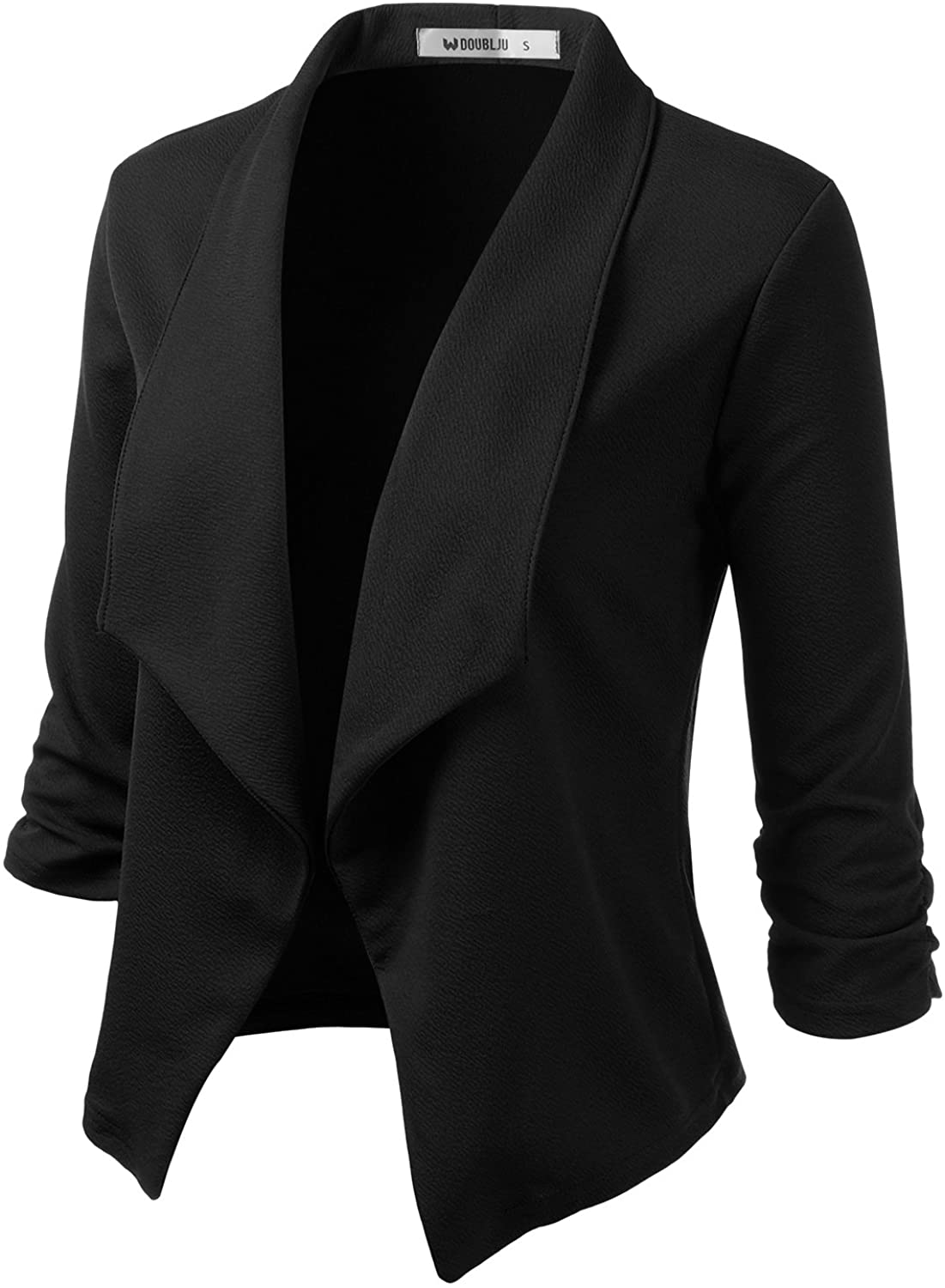 Doublju Womens Lightweight Classic Draped Open Front Blazer with Plus Size