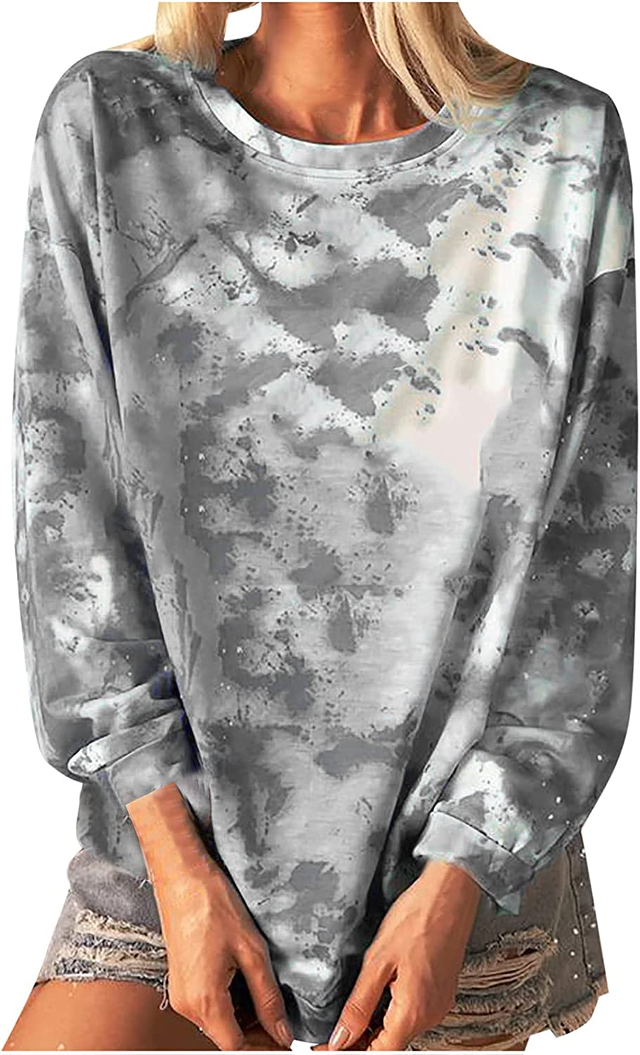 Tie Dye Pullover Tops for Women Sleeve Casual List price Sweatshirts Long C New popularity