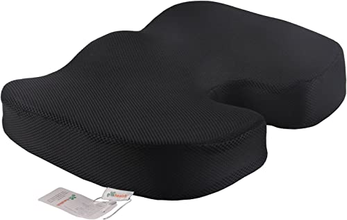 Grin Health Memory Foam Non-Slip Orthopedic Coccyx U Seat Cushion for Office Chair Car Seat (M (up to 80kg Wt.), Black)