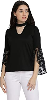 Miss Chase Women's Black Round Neck Choker Style Top
