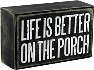 Primitives by Kathy Life is Better on The Porch Decorative Wooden Box Sign
