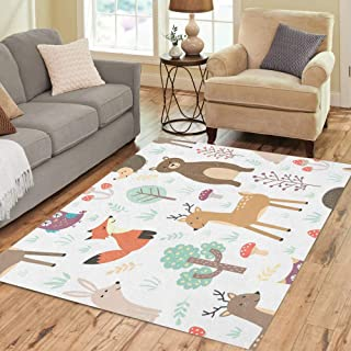 Pinbeam Area Rug Forest Cute Animals Fox Deer Bear Rabbit Hedgehog Home Decor Floor Rug 5' x 7' Carpet