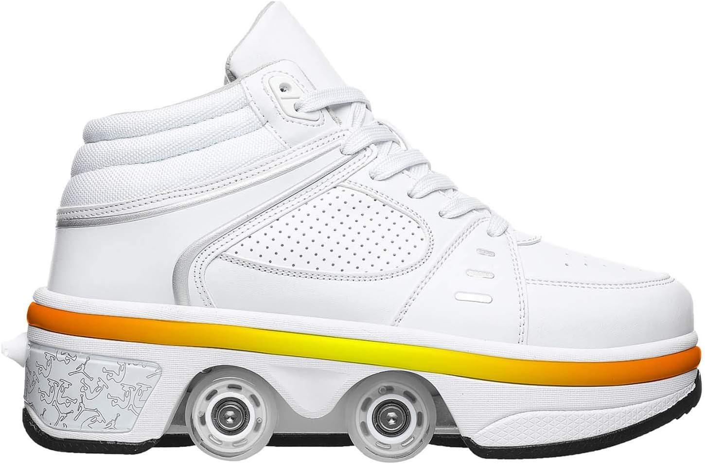 Fbestxie LED Rollschuhe Mit R/äder,M/ädchen Quad Roller Skates Damen Skate Roller,2-In-1 Skate Schuhe Sportschuhe Multifunktionale Deformation Schuhe F/ür Unsichtbare Schuhe Fersenroller Kinder