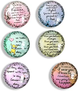 classic winnie the pooh inspirational quote Refrigerator Magnets, set of six 4x4cm winnie the pooh gifts for kids, Whiteboard Magnets for classroom or Locker