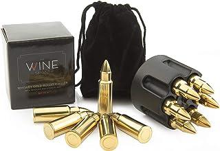 Whiskey Stones Bullets Edelstahl – Bullet Chillers Set von 6 mit realistischem Revolver Gefrierschrank Basis Halter, Premium Edelstahl gold