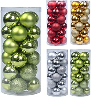 Emopeak 24Pcs Christmas Balls Ornaments for Xmas Christmas Tree - Shatterproof Christmas Tree Decorations Large Hanging Ball for Holiday Wedding Party Decoration (Tree Green, 1.2