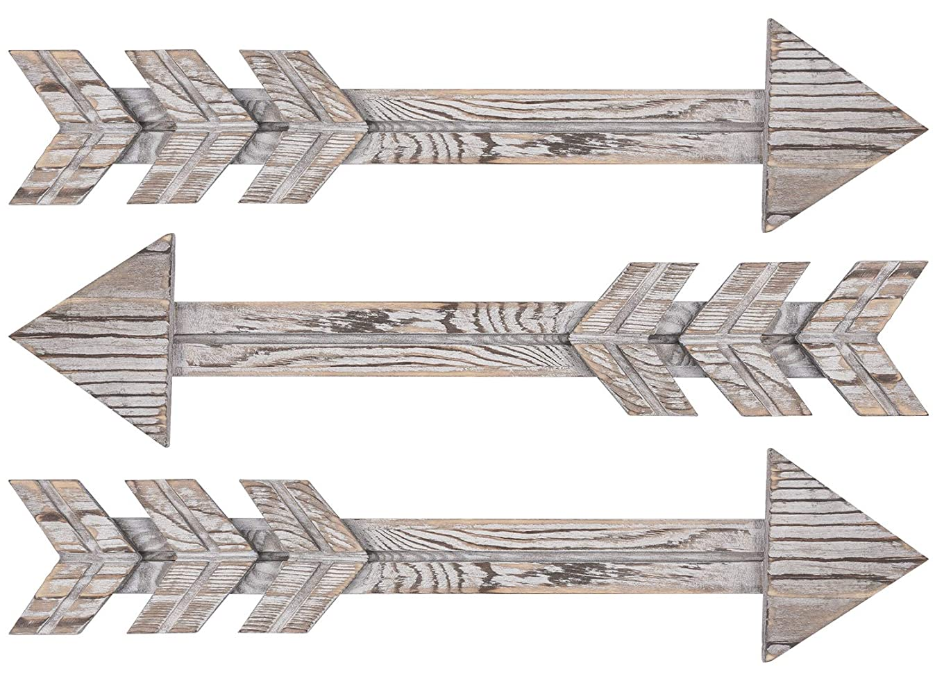 TIMEYARD Wood Arrows Wall Decor, Set of 3 Farmhouse Arrow Sign, Decorative Rustic Home Wall Hanging Decor