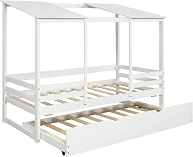 Twin Size Kids Beach House Bed with Trundle (White)