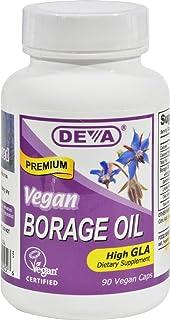 Deva Vegan Borage Oil - 500 mg - Omega-6 GLA - Gluten Free - 90 Vegan Capsules (Pack of 2)
