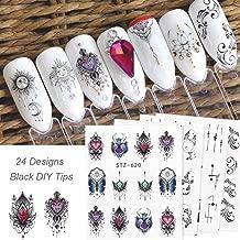 24Sheets Black Nail Stickers Water Transfer Decals Nail Art Tattoos Feather Nail Art Water Slide Nail Decals Nail DIY Decorations …