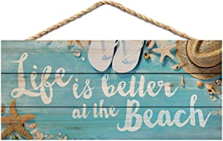 P. Graham Dunn Life is Better at The Beach Printed 10 x 4.5 Wood Wall Hanging Plaque Sign