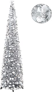 YuQi 5FT Pop Up Christmas Tinsel Slim Trees with Plump Shiny Sequins,Collapsible Artificial Pencil Xmas Tree Reusable with Plastic Stand for Fireplace & Office & Classroom,Party Decor-Silver